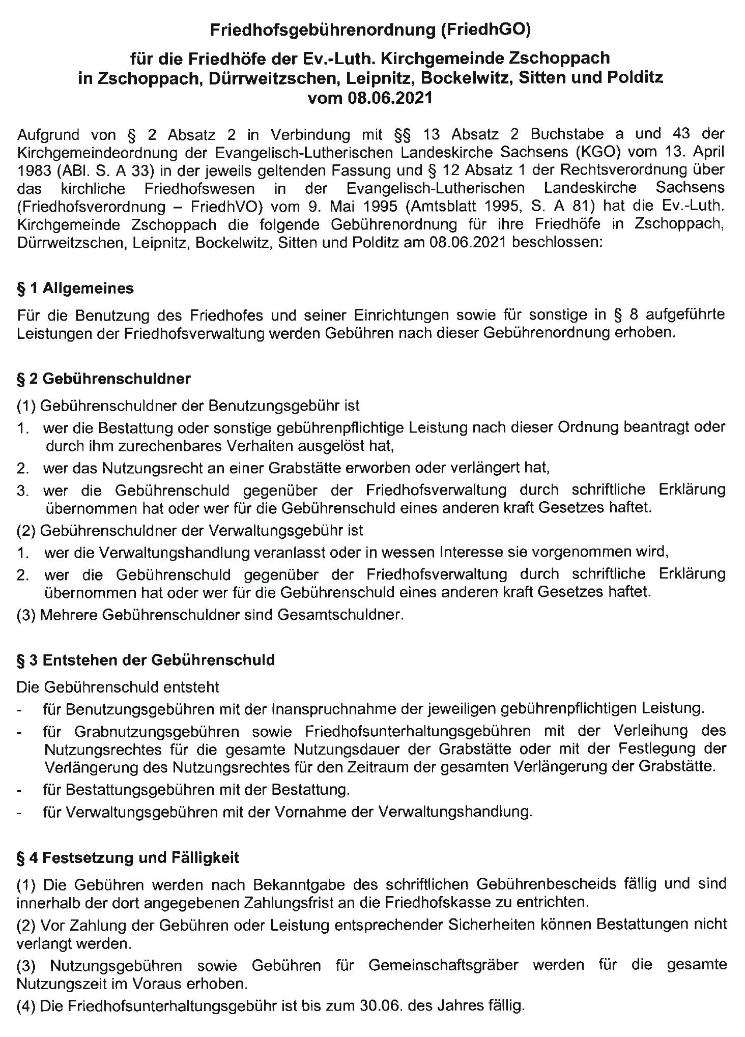 Friedhofsgebührenordnung 2021 Kirchgemeinde Zschoppach